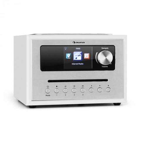 Auna Silver Star CD Cube, rádio, bluetooth, HCC displej, biele